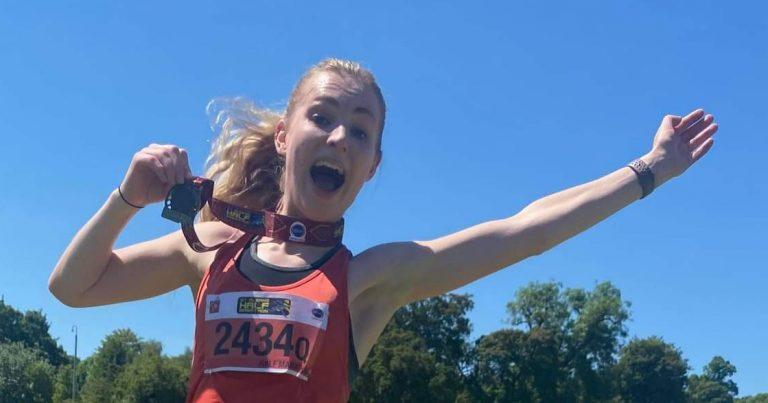 Heather Jones FVS celebrating new PB at St Albans Half Marathon